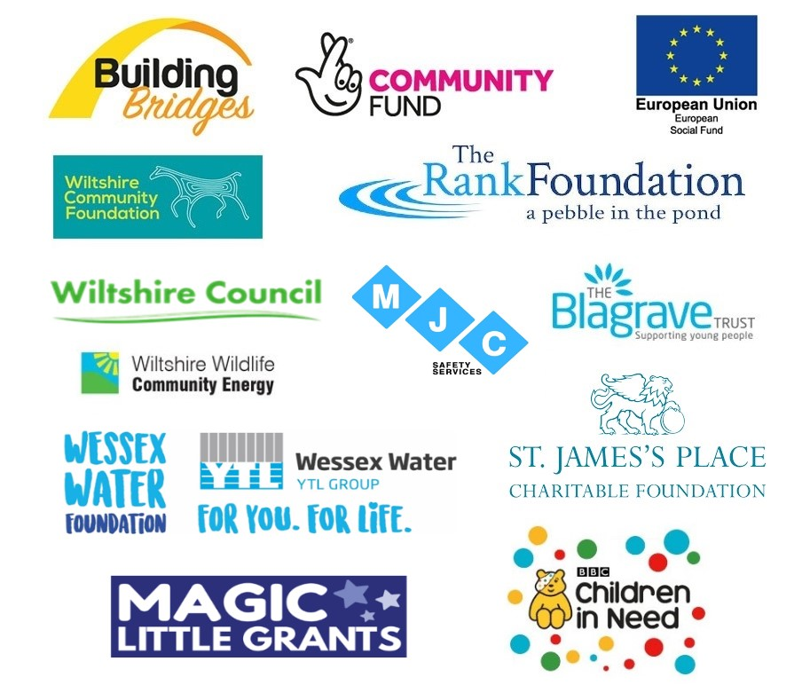 Funded By Building Bridges, Community Fun, EU Social Fund, Wiltshire Council, WIltshire Community Foundation, The Belgrave Trust, WIltshire Wildlife Community Energy, Gillingham, Mere & Shaftesbury Lions Club